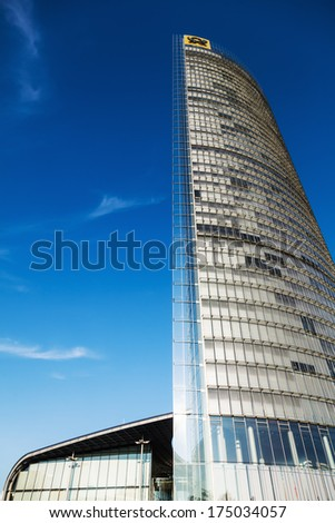 BONN, GERMANY - JANUARY 31: Post Tower on January 31, 2014 in Bonn. It is the headquarter of The Deutsche Post DHL and with 162,5 meters the 11th highest tower in Germany.