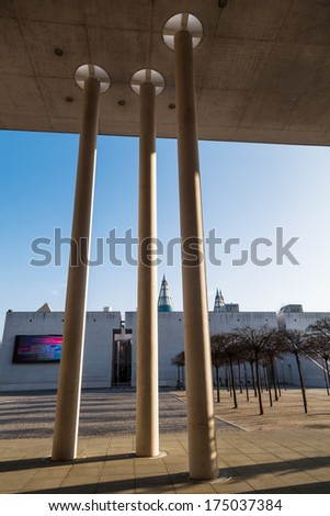 BONN, GERMANY - JANUARY 31: view through columned hall of the art museum to the art and exhibition hall of Germany on January 31, 2014 in Bonn. The highly regarded museums belong to the Museumsmeile