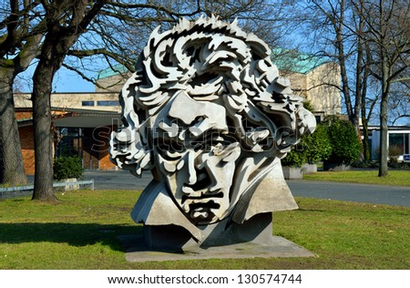 """BONN, GERMANY - MARCH 02: Beethoven Monument 'Beethon"""" on March 02, 2013 in Bonn, Germany. Sculpture created by Klaus Kammerichs in 1986 has become one of the major landmarks of Bonn. - stock photo"""