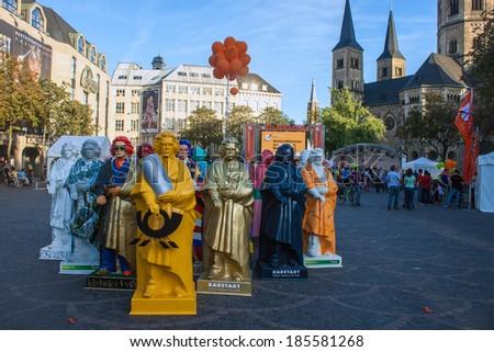 BONN, GERMANY - SEPTEMBER 8: Exhibition of Beethoven statues during Beethoven festival on September 8, 2012 in Bonn, Germany. Famous composer Beethoven was born in Bonn. - stock photo