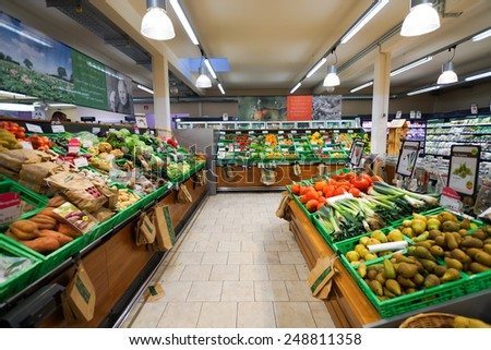 BONN - SEP 18: supermarket interior on September 18, 2014 in Bonn, Germany. Bonn officially the Federal City of Bonn, is a city on the banks of the Rhine in the German state of North Rhine-Westphalia. - stock photo