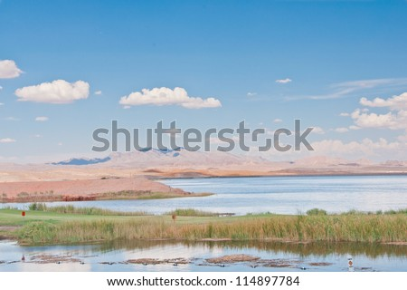 Bonneville Salt Flats mountains - stock photo
