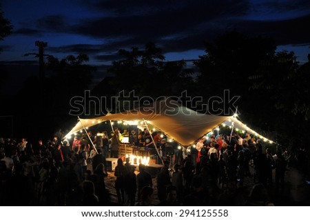 BONTIDA - JUNE 26, 2015: Electric Castle Festival is the biggest Romanian music festival and it takes place annually on the Bontida Banffy Castle domain. On June 26, 2015 in Bontida, Romania - stock photo
