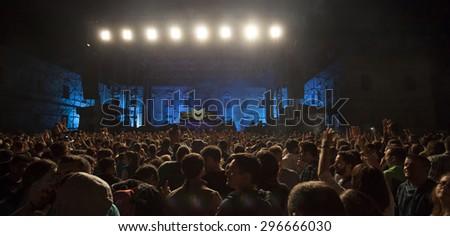 Bontida, Romania - JUNE 27, 2015: Audience having fun during concert at Electric Castle festival, one of the biggest music festivals in Romania - stock photo