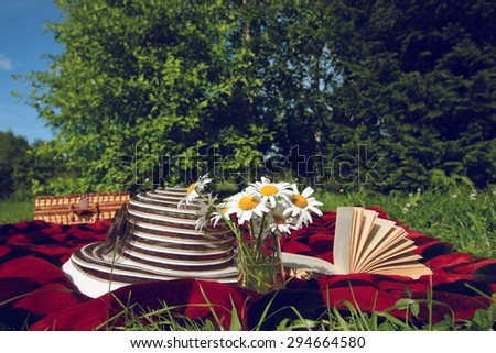 book a picnic and a hat to plaid - stock photo