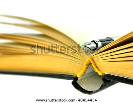 book and fountain pen - stock photo