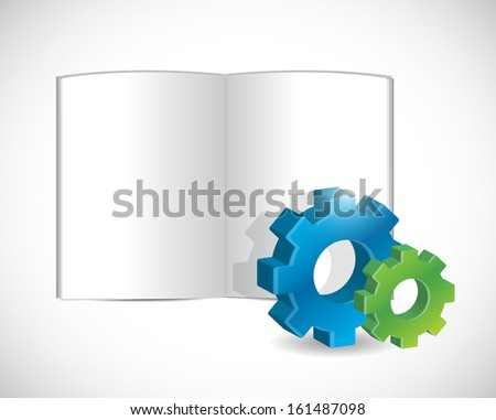 book and gear illustration design over a white background - stock photo