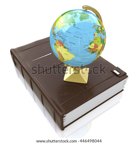 Book and globe in the design of information related to education and knowledge. 3d illustration - stock photo