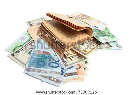 Book and money isolated on white - stock photo