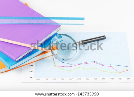 book and papers charts of successful for business