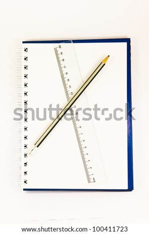 book and Pencil ruler on the in white background