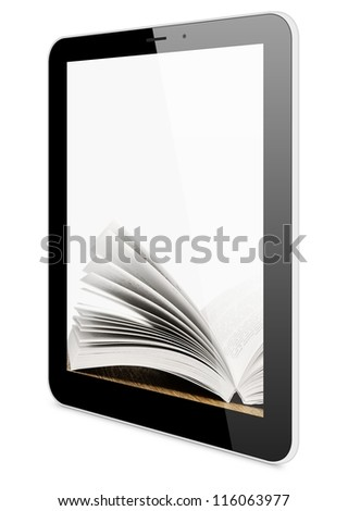 Book and tablet computer, 3d model isolated on white, digital library concept