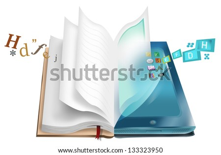 Book and Tablet illustration with texts and apps. E-book and E-library concept. Isolated on White Background. - stock photo