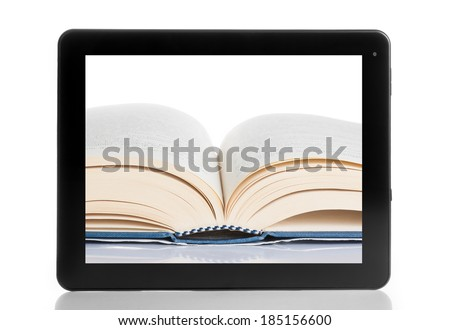 book and tablet pc isolated on white background, digital library concept - stock photo