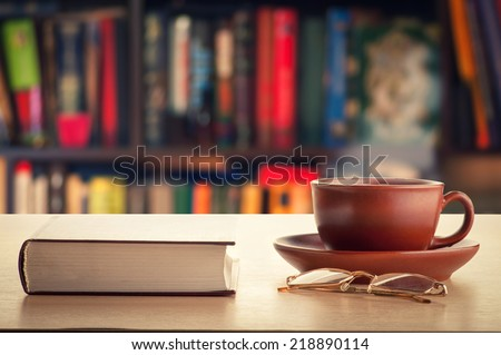 Book and tea  - stock photo