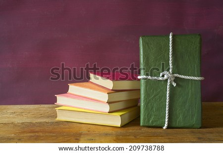 book as a gift,christmas gift, free copy space  - stock photo