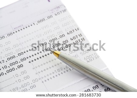 Book bank and pen ball isolated on white background. clipping path in picture. - stock photo