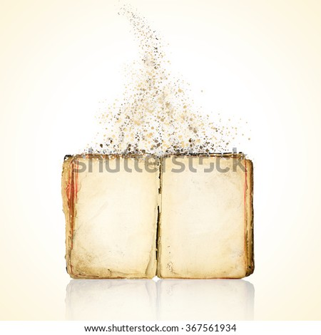 Book blank disintegration isolated on white background - stock photo