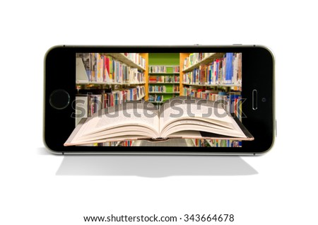 Book coming out of a smart phone with a library in the background representing online books and reading at online library with book application