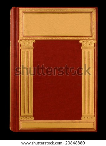 Book cover red with gold columns and text-ready gold boxes - stock photo