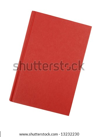 Book : front view of a plain red hardback book cover isolated against white background - stock photo