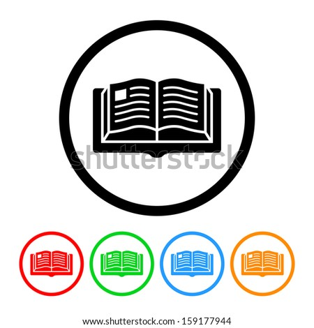 Book Icon with Color Variations.  Raster version. - stock photo