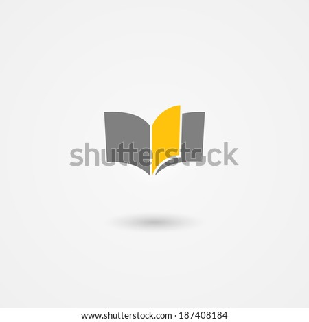 book icon with yellow page on white background - stock photo