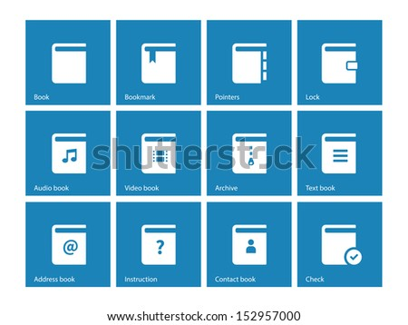 Book icons on blue background. See also vector version. - stock photo