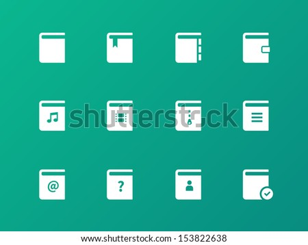 Book icons on green background. See also vector version. - stock photo