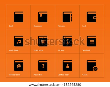 Book icons on orange background. See also vector version. - stock photo