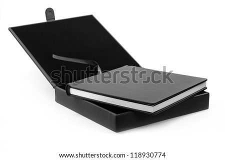 book in a black leather box - stock photo