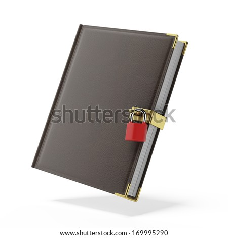 book in leather cover and padlock - stock photo