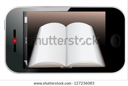 Book in Smartphone. Illustration of a realistically ebook on an smartphone