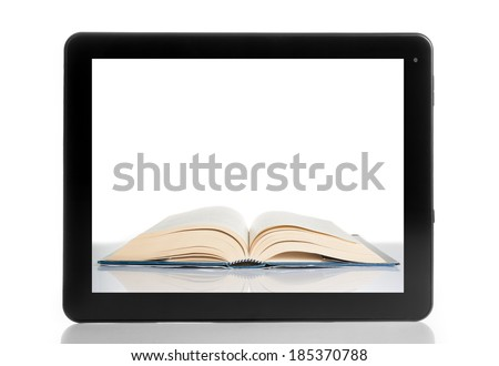 book inside tablet pc isolated on white background, digital library concept - stock photo