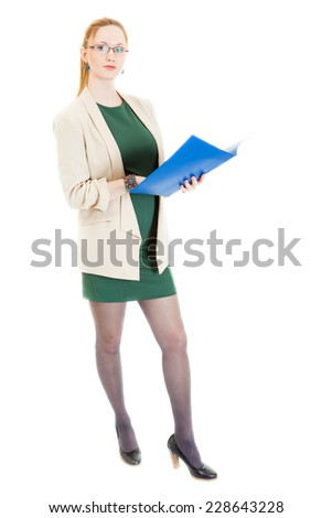 book-keeper with lens checks 500 euros - stock photo