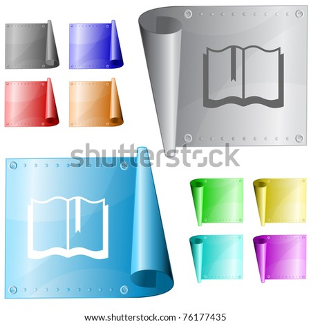 Book. Metal surface. Raster illustration. Vector version is in my portfolio.