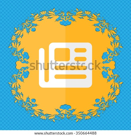 book, newspaper. Floral flat design on a blue abstract background with place for your text. illustration - stock photo