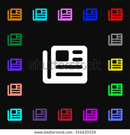 book, newspaper icon sign. Lots of colorful symbols for your design. illustration - stock photo