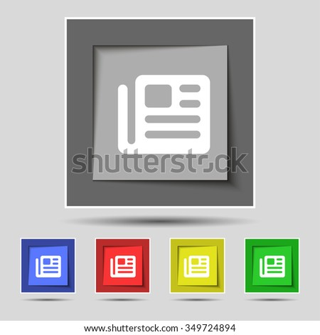 book, newspaper icon sign on original five colored buttons. illustration - stock photo
