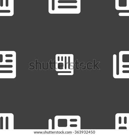 book, newspaper icon sign. Seamless pan. Seamless pattern on a gray background. illustration - stock photo