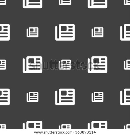 book, newspaper icon sign. Seamless pattern on a gray background. illustration - stock photo