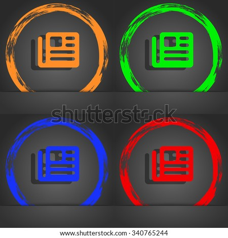 book, newspaper icon symbol. Fashionable modern style. In the orange, green, blue, green design. illustration - stock photo