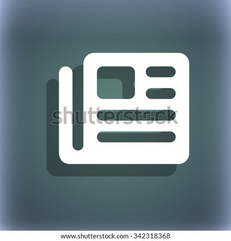 book, newspaper icon symbol on the blue-green abstract background with shadow and space for your text. illustration - stock photo