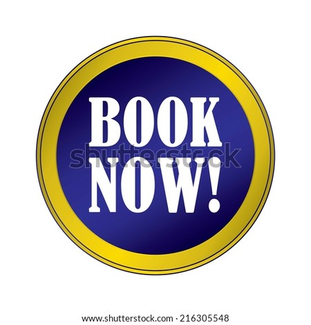 Book Now Blue Round Button With Gold Border. - stock photo