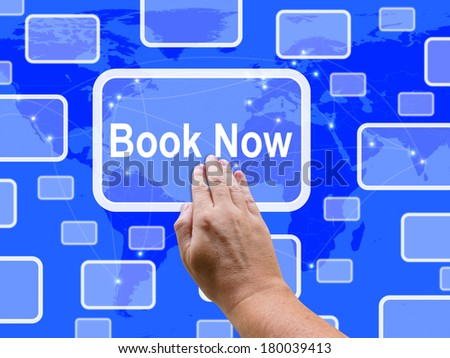 Book Now Touch Screen Showing Hotel Or Flights Reservation