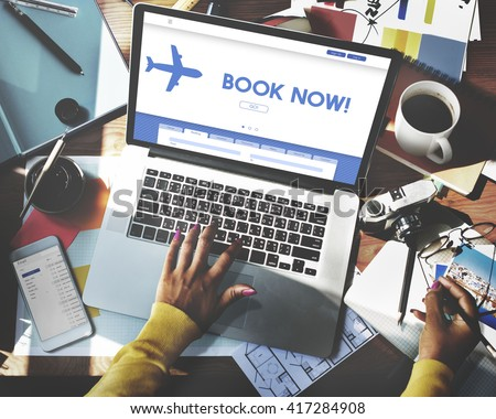 Book Now Traveling Transportation Website Concept - stock photo