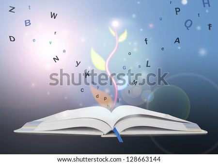 book of knowledge. the concept of the learning. - stock photo