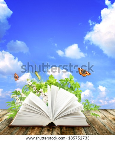 Book of nature on blue background