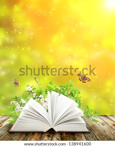 Book of nature on green background - stock photo