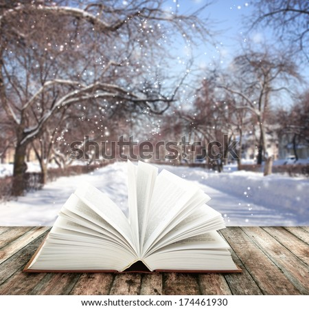 Book of nature on winter background - stock photo